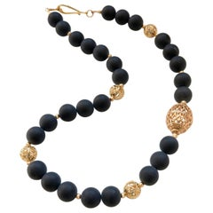 Decadent Jewels Matt Black Onyx Filigree Gold Bead Necklace