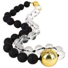Decadent Jewels Matt Onyx Clear Rock Crystal Agate Gold Necklace