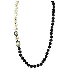 Decadent Jewels Matt Onyx Pearl Black and White Silver Necklace