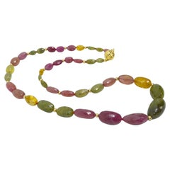 Decadent Jewels Multi-Color Sapphire Graduated Gold Necklace