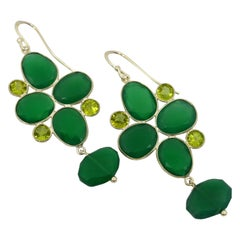Decadent Jewels Peridot Green Onyx Sterling Silver Earrings