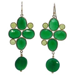 Decadent Jewels Peridot Green Onyx Sterling Silver Earrings