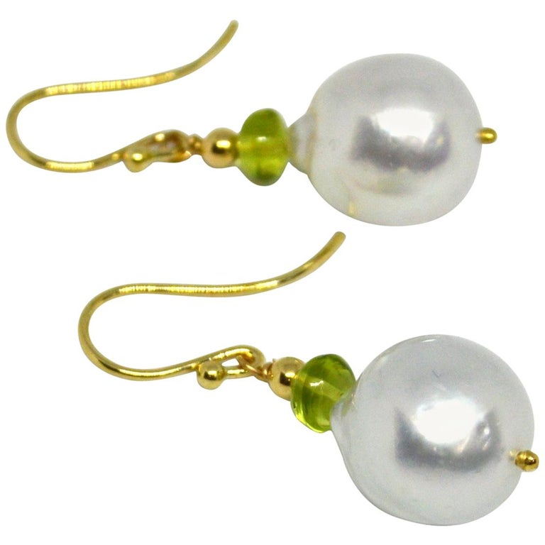 Decadent Jewels Peridot South Sea Pearl Gold Earrings For Sale