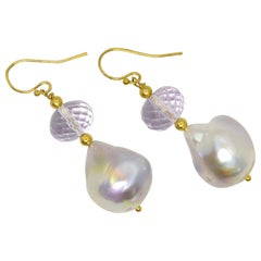 Decadent Jewels Pink Amethyst Baroque Pearl Gold Earrings