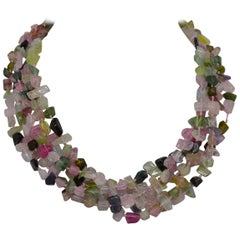 Decadent Jewels Rainbow Tourmaline Toursade Gold Necklace