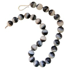 Decadent Jewels Rare High Quality Natural Banded Agate Sterling Silver Necklace
