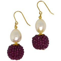 Decadent Jewels Ruby Fresh Water Pearl Gold Drop Earrings