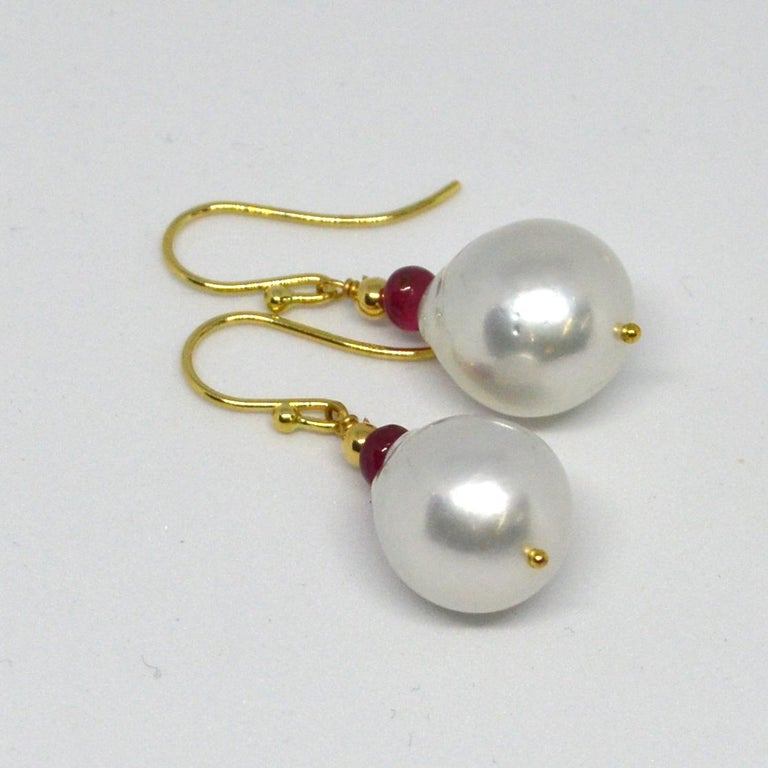 Modern Decadent Jewels Ruby South Sea Pearl Gold Earrings For Sale