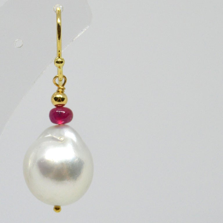 Women's Decadent Jewels Ruby South Sea Pearl Gold Earrings For Sale