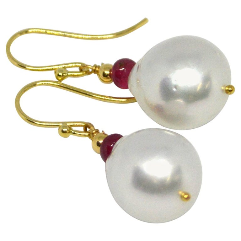 Decadent Jewels Ruby South Sea Pearl Gold Earrings For Sale