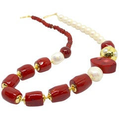 Decadent Jewels Sea Bamboo and Fresh Water Pearl Gold Necklace