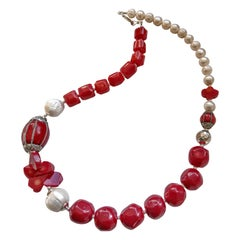 Decadent Jewels Sea Bamboo and Fresh Water Pearl Sterling Silver Necklace