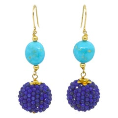 Decadent Jewels Sleeping Beauty Turquoise Lapis Lazuli Gold Drop Earrings