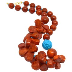 Decadent Jewels Sponge Coral carved Turquoise Howlite Gold Necklace
