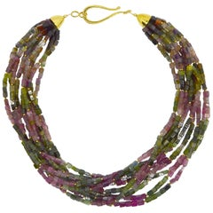 Decadent Jewels Statement Rainbow Tourmaline Toursade 10 Strand Gold Necklace