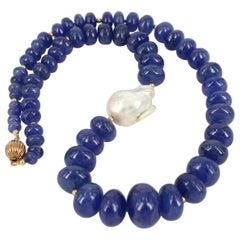 Decadent Jewels Tanzanite Baroque Fresh Water Pearl Gold Necklace