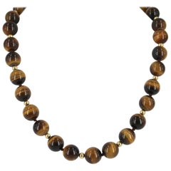 Decadent Jewels Tigers Eye Round Bead Gold Necklace