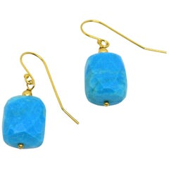 Decadent Jewels Turquoise Gold Drop Earrings