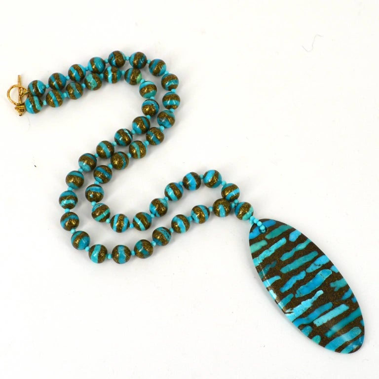 Bead Decadent Jewels Turquoise Pendant Gold Necklace and Earrings Gold For Sale