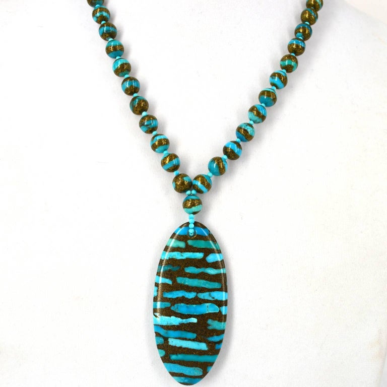 Decadent Jewels Turquoise Pendant Gold Necklace and Earrings Gold In New Condition For Sale In Sydney, AU