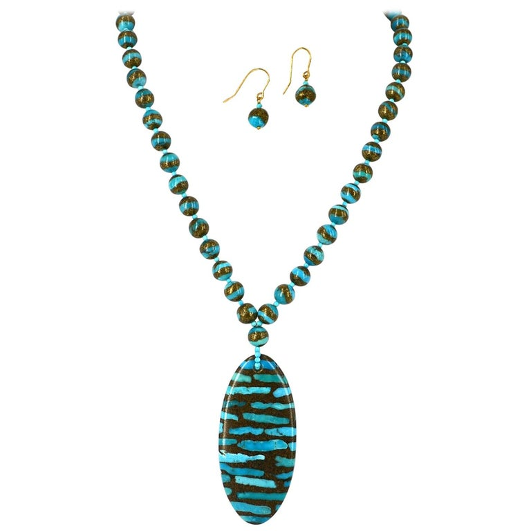 Decadent Jewels Turquoise Pendant Gold Necklace and Earrings Gold For Sale