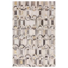 Decadent New Customizable Curvo GRay and Gold Cowhide Area Floor Rug Large