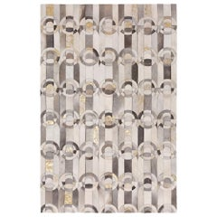 Decadent New Customizable Curvo Gray and Gold Cowhide Area Floor Rug Small