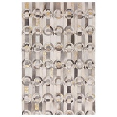 Decadent New Customizable Curvo GRay and Gold Cowhide Area Floor Rug X-Large