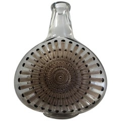 "Decanter ""Reine Marguerite"" White Enamelled Brown Glass with Sepia Patina by Ren"