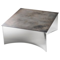 DeCastelli Alchemy 70 Coffee Table in Iron with Stainless Steel Base by Stormo