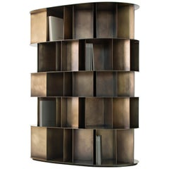DeCastelli Existence Wall Five-Tier Bookcase in Brass by Michele De Lucchi