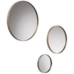 DeCastelli Riflesso 70 Mirror with Brass Frame by R&D De Castelli
