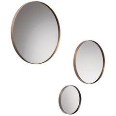 DeCastelli Riflesso 90 Mirror with Brass Frame by R&D De Castelli