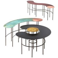 DeCastelli Scribble Comma Coffee Table in Black Top by Francesca Lanzavecchia