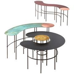 DeCastelli Scribble Tilde Coffee Table in Copper Top by Francesca Lanzavecchia