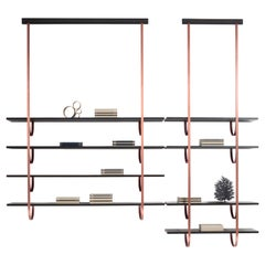 DeCastelli Talea 115 Bookshelf in Copper with 4 Wooden Shelves by LucidiPevere