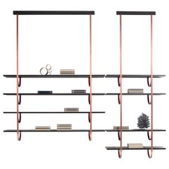 DeCastelli Talea 185 Bookshelf in Copper with 4 Wooden Shelves by LucidiPevere