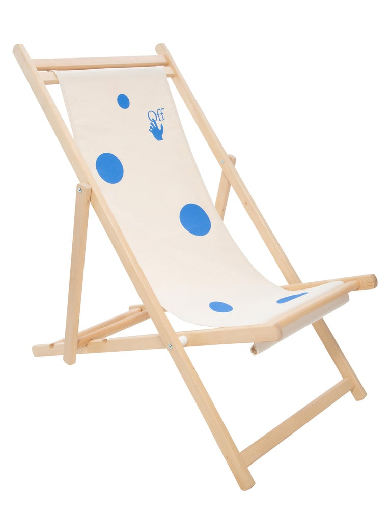 Off-White Deck Chair Wood Ivory Blue For Sale