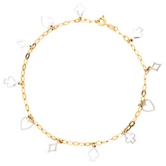 Deck of Cards Anklet 18 Karat Two-Tone Gold Fine Vintage Gambling Jewelry