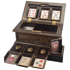 Deck of Cards Box, Lacquer, Wood, 19th Century