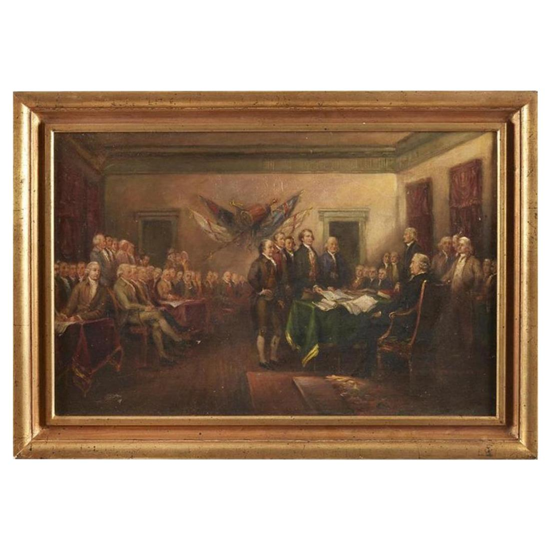 Declaration of Independence Oil on Canvas by Horace Carpenter, John Trumbull