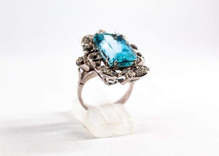 Deco 12.60 Carat Aquamarine 2.90 Carat White Diamond White Gold Cocktail Ring For Sale 5