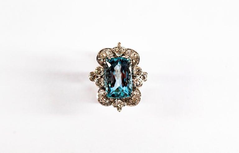 Deco 12.60 Carat Aquamarine 2.90 Carat White Diamond White Gold Cocktail Ring For Sale 8