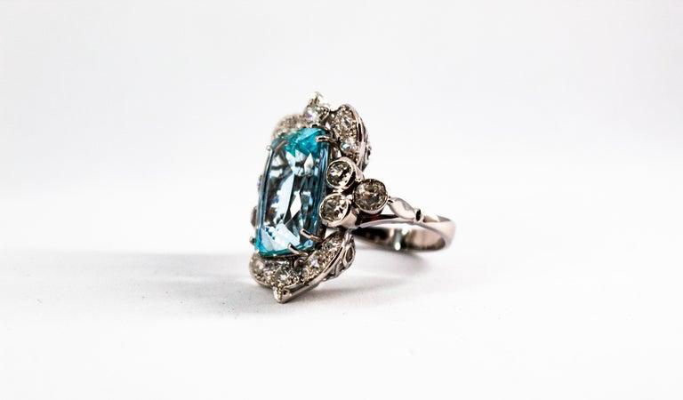 Deco 12.60 Carat Aquamarine 2.90 Carat White Diamond White Gold Cocktail Ring For Sale 1
