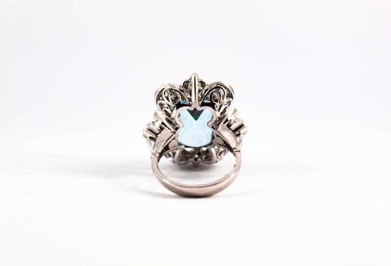 Deco 12.60 Carat Aquamarine 2.90 Carat White Diamond White Gold Cocktail Ring For Sale 2