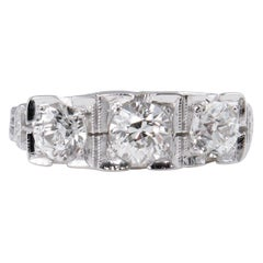 Deco 1.40 Carat Old European Diamond 3-Stone Wedding White Gold Ring EGL
