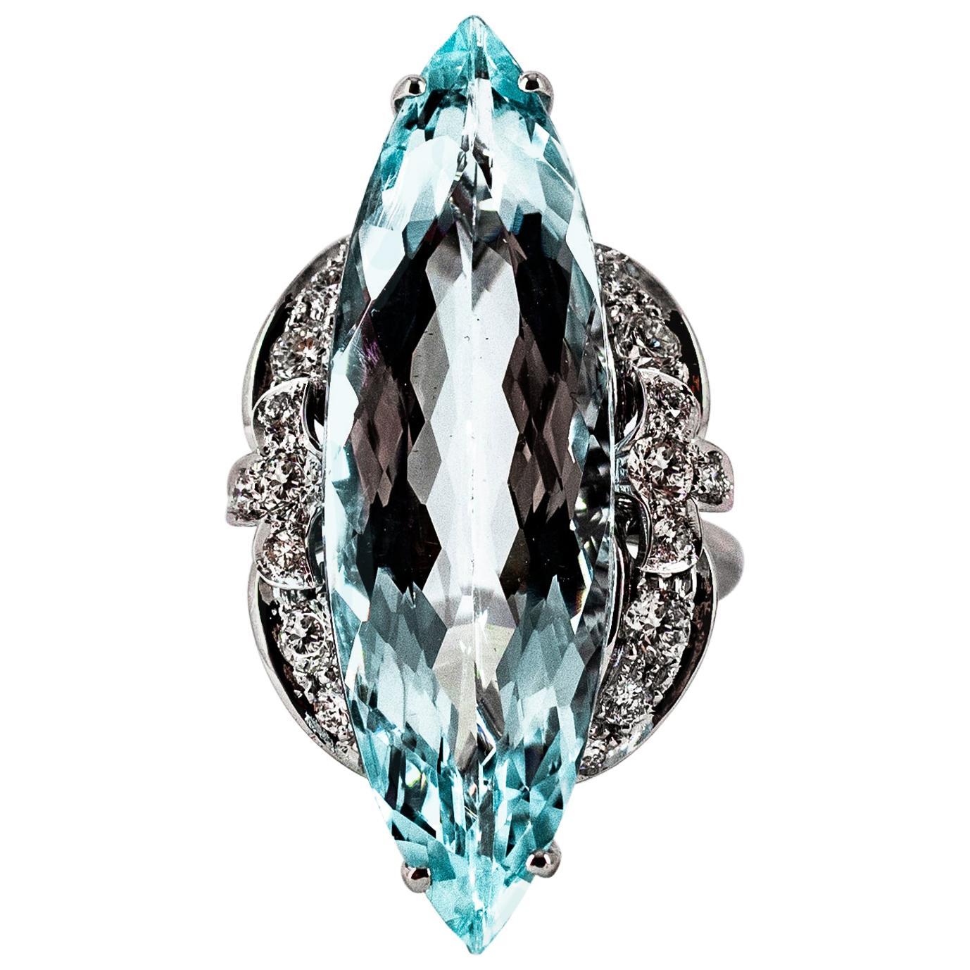 Deco 14.29 Carat Aquamarine White Brilliant Cut Diamond White Gold Cocktail Ring
