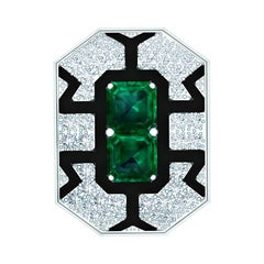 Deco 4.80 Carat Emerald and Diamond Onyx Platinum and Yellow Gold Ring