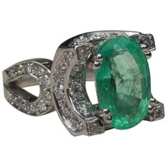 Deco 5 Carat Emerald Solitaire 18 Karat Halo Ring