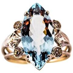 Deco 5.54 Carat Aquamarine White Brilliant Cut Diamond White Gold Cocktail Ring